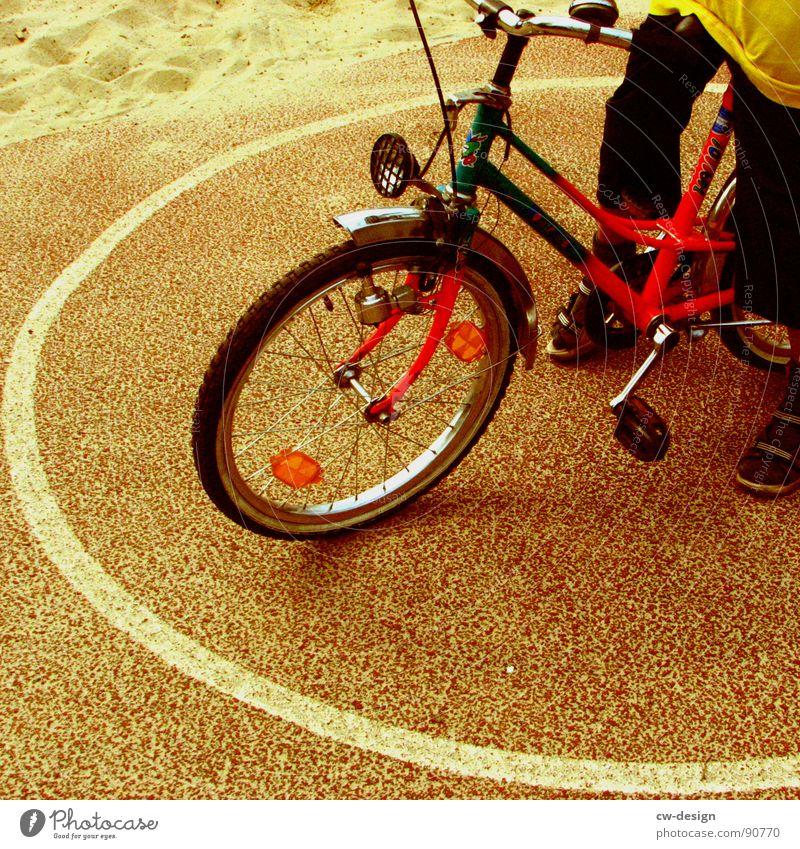 Human being Child Vacation & Travel Girl Summer Black Yellow Playing Boy (child) Bicycle Modern Stand Circle Break Driving To hold on