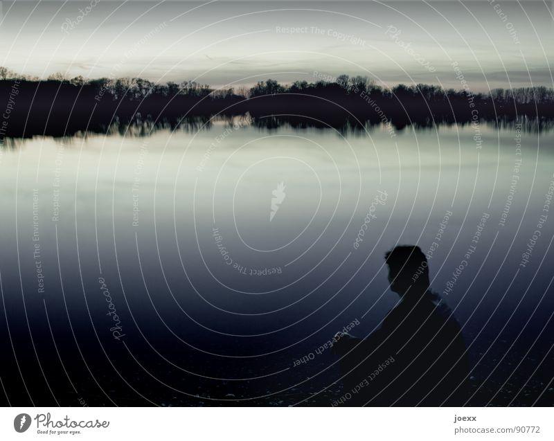 Man Water Tree Calm Loneliness Dark Relaxation Head Sadness Lake Think Coast Horizon Idyll Doomed Dusk