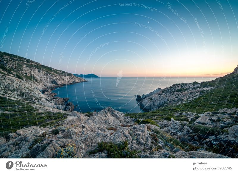 Blue hour Nature Landscape Earth Air Water Sunrise Sunset Rock Far-off places Free Large Infinity Island Corsica Mediterranean sea Ocean Colour photo