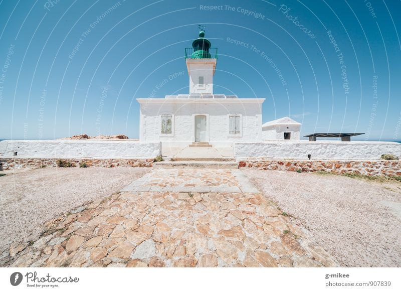Vacation & Travel Blue White Far-off places Architecture Turquoise Lighthouse Symmetry Port City Corsica