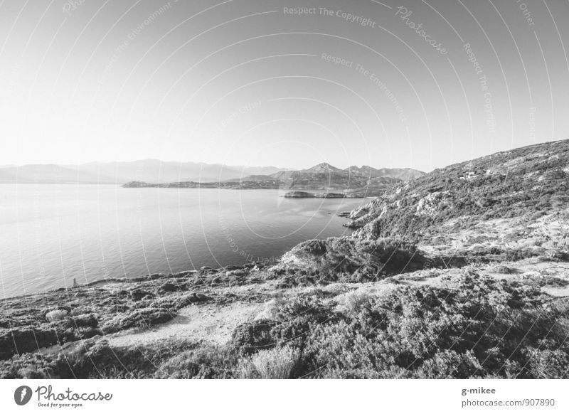 Sky Nature Water Landscape Far-off places Rock Earth Large Island Vantage point Mediterranean sea Corsica Vacation destination