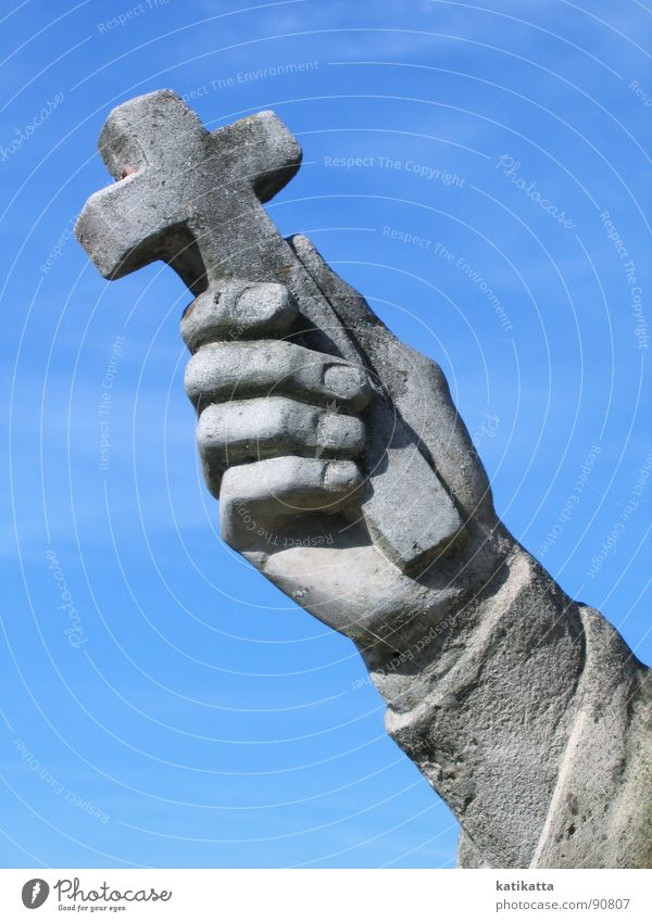 Hand Old Sky Blue Cold Gray Stone Religion and faith Back Fingers Peace Statue Monument Landmark Belief God