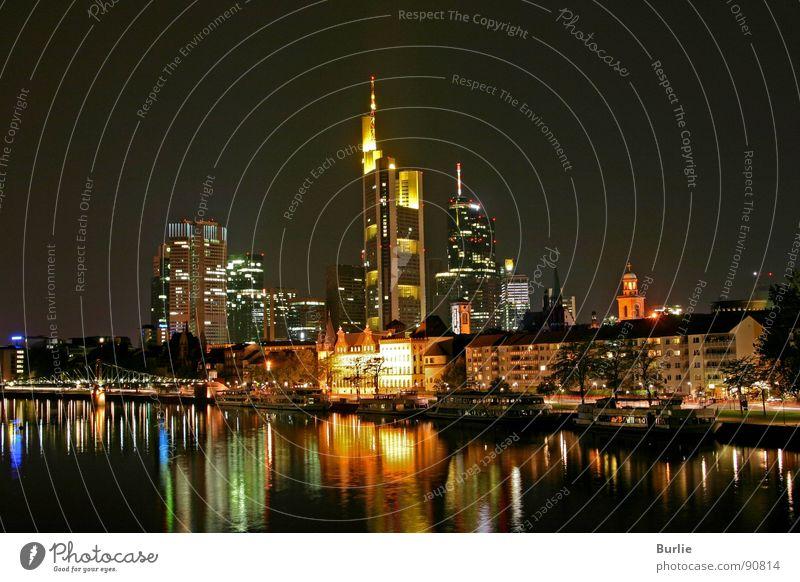Frankfurt am Main at night Night High-rise Romance Calm Long exposure Water Light Lamp Reflection Peace