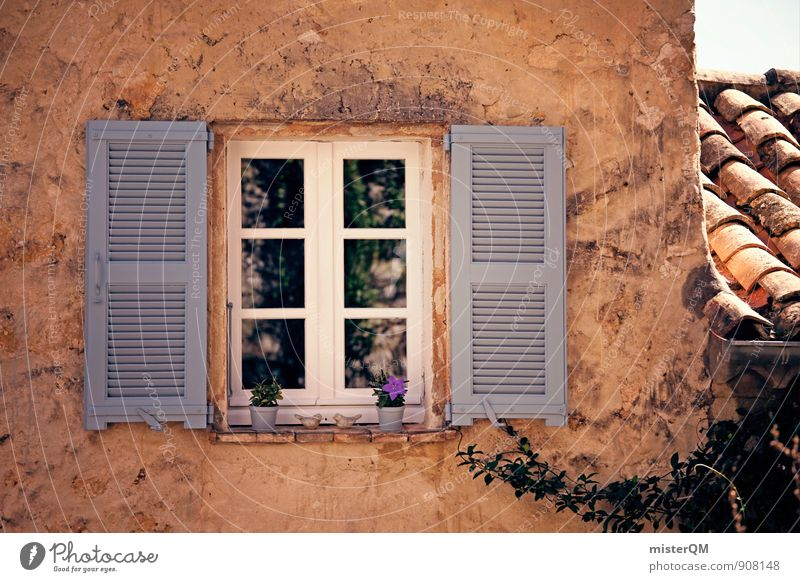 Vacation & Travel Window Art Facade Contentment Esthetic Roof Mediterranean Window pane Direct View from a window Shutter Window board Roofing tile Vacation photo Window frame