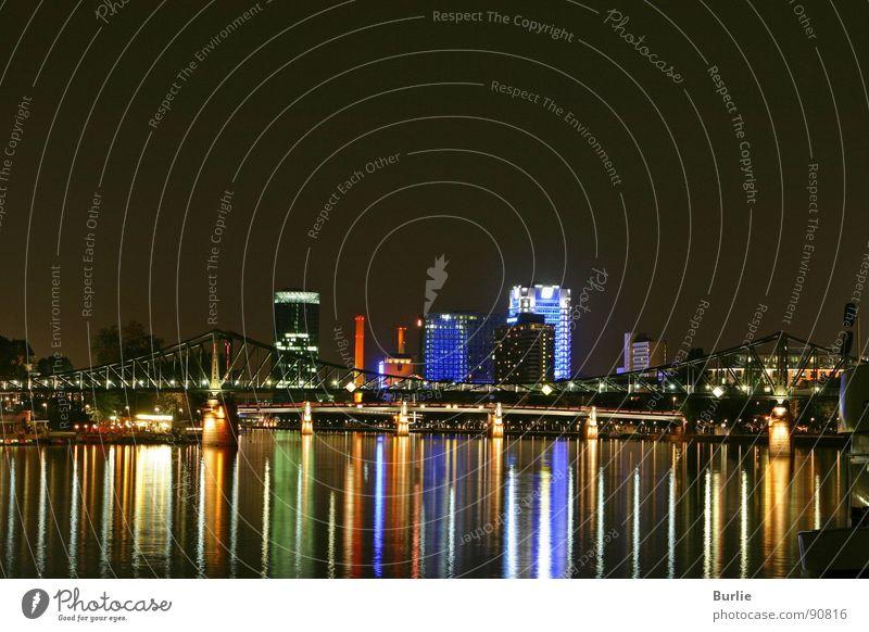 Frankfurt Magic of Lights Main Night High-rise Romance Calm Long exposure Water Lamp Reflection Peace