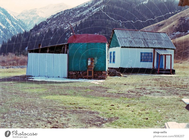 Nature Loneliness Landscape House (Residential Structure) Mountain Grass Snow Moody Ice Climate Simple Beautiful weather Peak Frost Hill Snowcapped peak