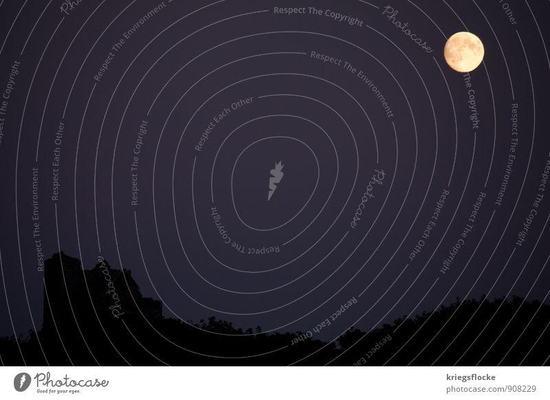 Landscape Calm Dark Moody Fear Romance Ruin Moon Fairy tale Mystic Hallowe'en Full  moon