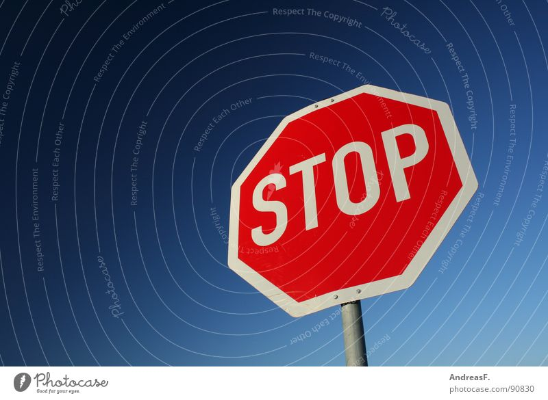 STOP Stop Stop sign Hold Transport Dangerous Red Driving Symbols and metaphors Road sign Street sign Threat Mixture Sky Signs and labeling