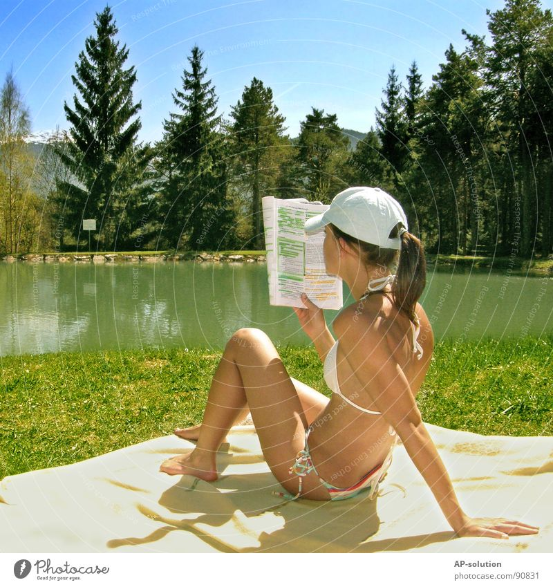 Woman Human being Sky Nature Youth (Young adults) Water Blue Tree Sun Joy Summer Forest Mountain Landscape Emotions Grass