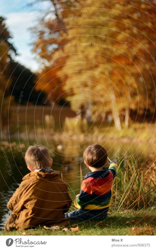 Human being Child Nature Far-off places Autumn Emotions Coast Boy (child) Playing Lake Moody Friendship Together Family & Relations Leisure and hobbies Idyll