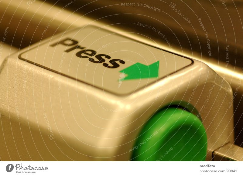 Press - Press Green Pushing Buttons Activate Switch off Industry Science & Research Arrow