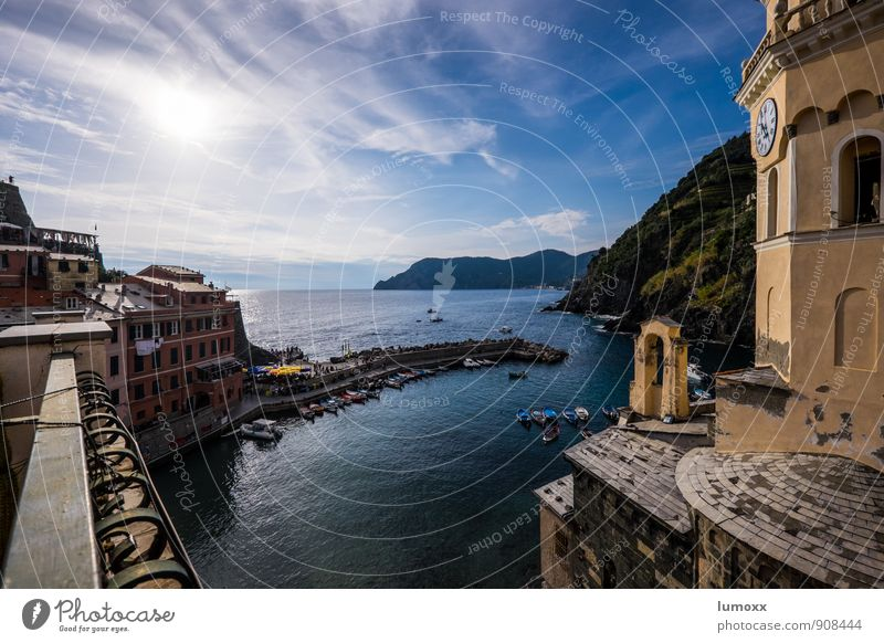 vista Clouds Sunlight Beautiful weather Coast Ocean Vernazza Italy Europe Fishing village House (Residential Structure) Church Blue Yellow Vantage point Rowboat
