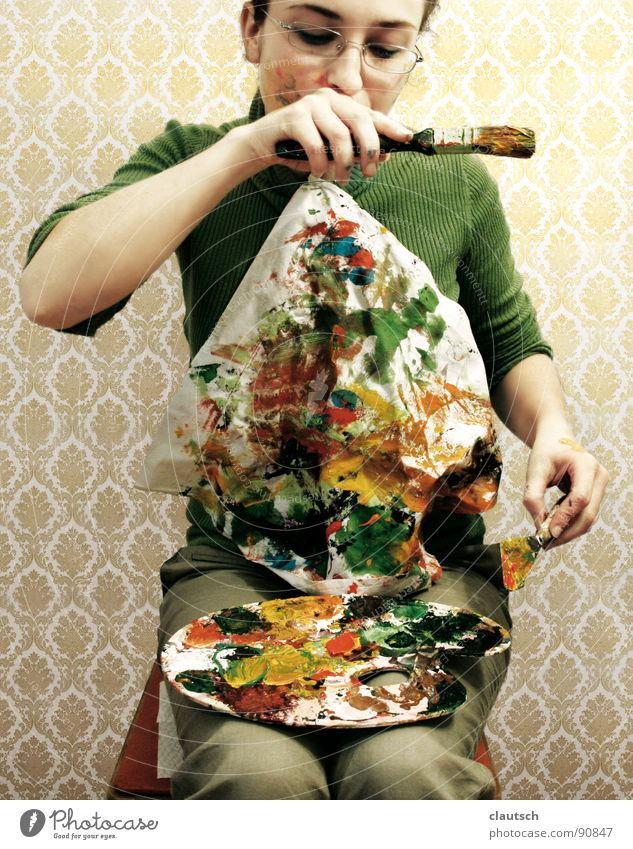 enjoyment of art2 Art To enjoy Meal Nutrition Wallpaper Green Multicoloured Napkin Paintbrush Palett Bon appetit Arts and crafts  Painting (action, work) Colour