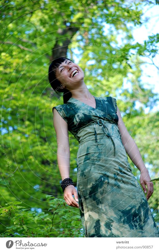 Woman Human being Sky Green Beautiful Tree Joy Forest Feminine Laughter Spring Happiness Dress Clothing Elf Princess