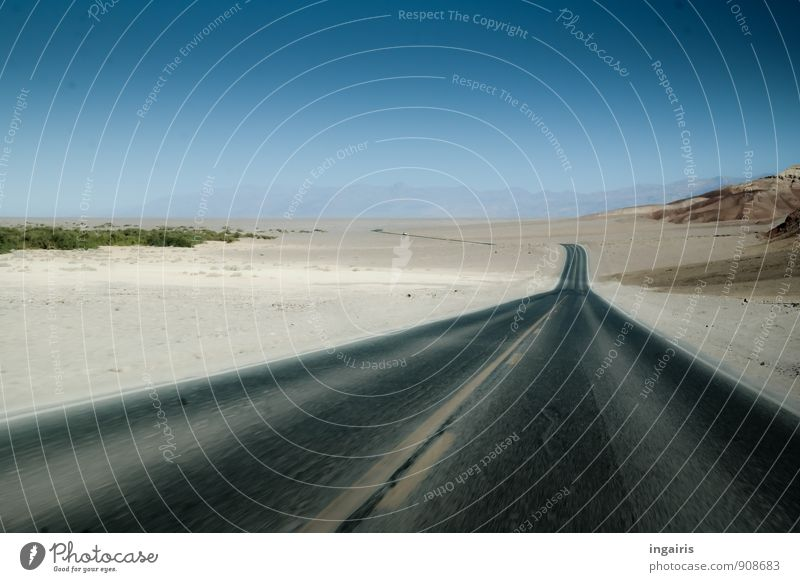 Drive Drive Drive! Environment Sand Sky Cloudless sky Beautiful weather Mountain Desert Deserted Transport Traffic infrastructure Road traffic Street Infinity