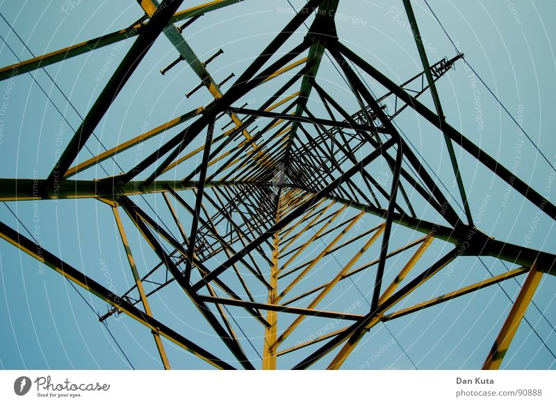 ›>X<‹ Electricity Noble Thin Graceful Open Wire Electricity pylon Exciting Eiffel Tower Manmade structures Worm's-eye view Under Central Middle Geometry