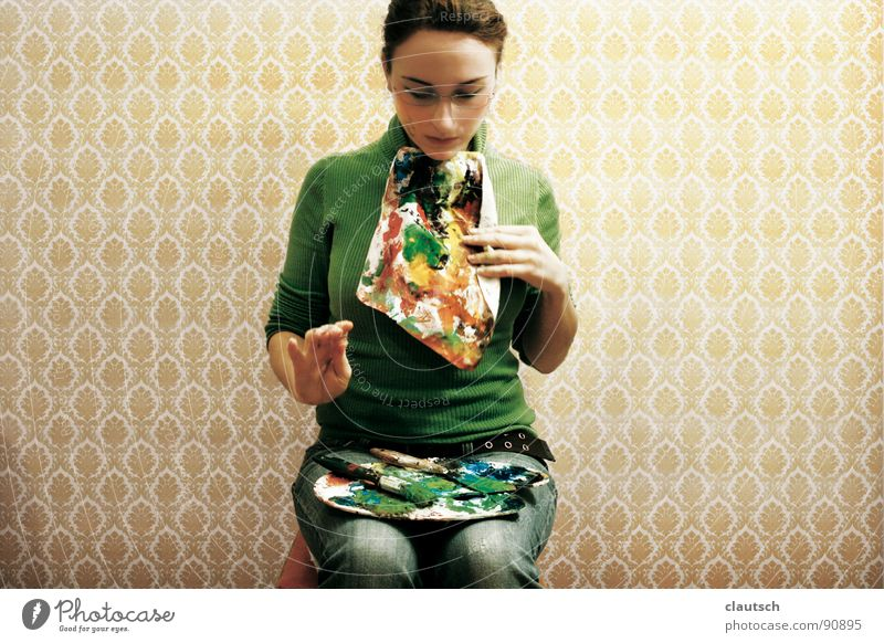 art enjoyment - bon appetit Art To enjoy Meal Nutrition Wallpaper Green Multicoloured Napkin Paintbrush Palett Bon appetit Arts and crafts