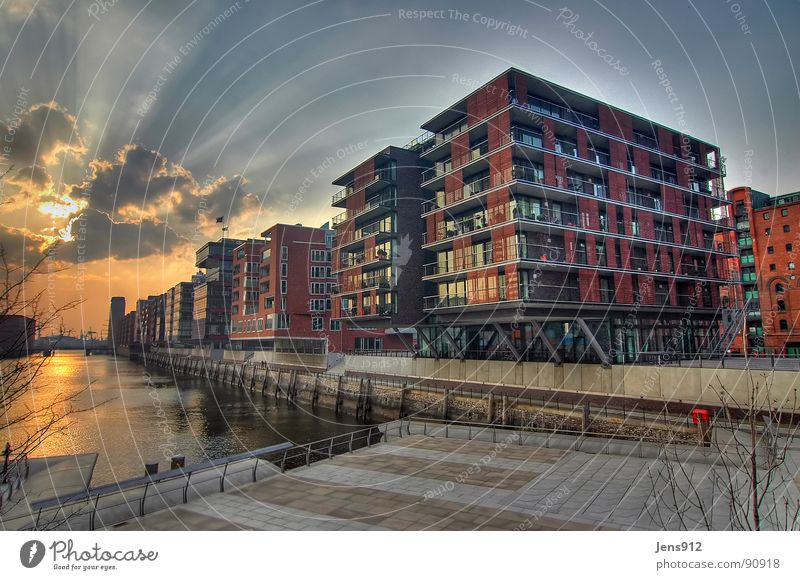 Water Sky City Calm Clouds Window Crane Architecture Glass Hamburg Grief Modern Wide angle Construction site Harbour