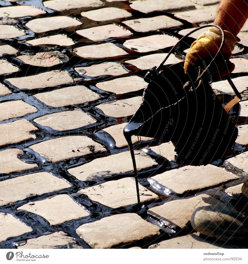 enjoy watering Tar Cobblestones Bucket Road construction Dexterity Craft (trade) Detail road street repair mending pour Rain Fill flowing fluid boiling