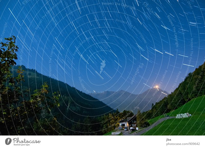 View to the Niesen Life Relaxation Calm Trip Far-off places Freedom Summer Mountain Nature Landscape Elements Air Night sky Stars Autumn Beautiful weather Alps