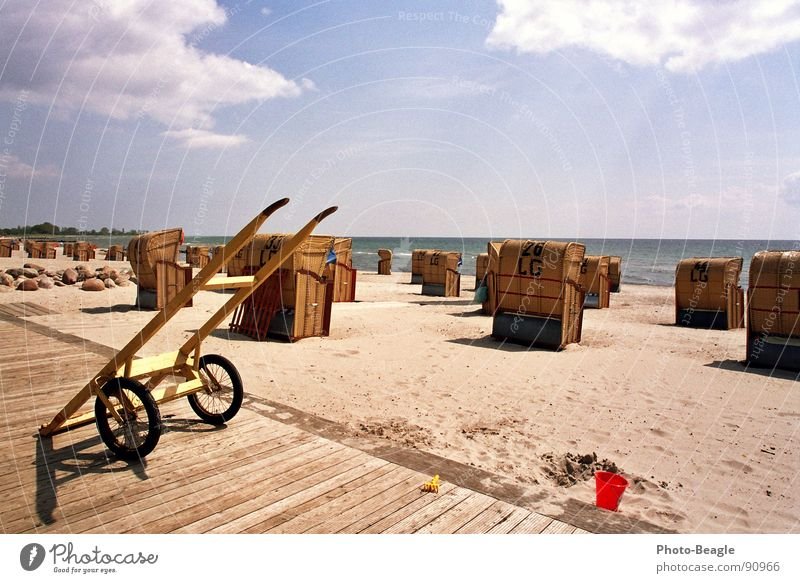 wicker beach chair cart Beach chair Ocean Vacation & Travel Summer Beautiful weather Germany Sand Baltic Sea Water Idyll Sun sea seaside wave waves beach chairs