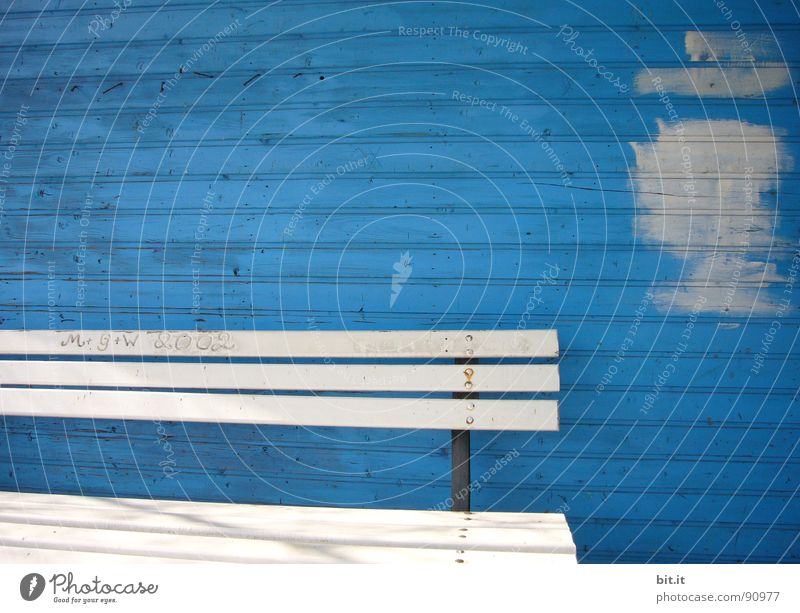 Blue White Line Redecorate Section of image Partially visible Redevelop Patch of colour Wooden wall Paintwork Wooden house Wooden bench Wooden hut Cobalt blue