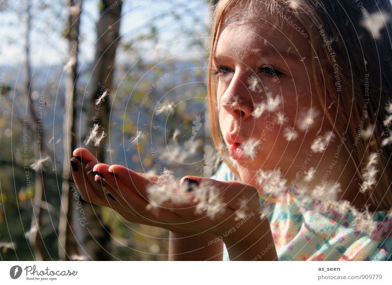 Human being Child Nature Youth (Young adults) Summer Sun Relaxation Landscape Girl Forest Face Warmth Life Movement Autumn Emotions