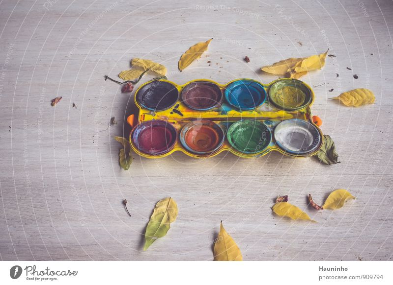 watercolours Draw Wooden table Art Painter Autumn Leaf Paintbox Watercolor Plastic Utilize Blue Brown Multicoloured Yellow Gray Green Violet Orange Pink Red