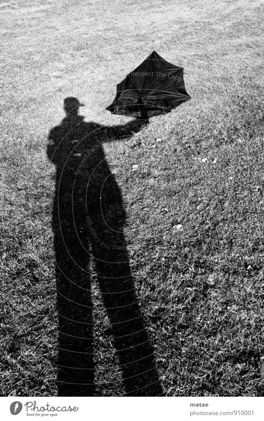 Shadow - Umbrella Human being Masculine Man Adults To hold on Black Shadow play Back-light Flying kites Sunshade Pole Stilt Uphold Doomed Find shadow man
