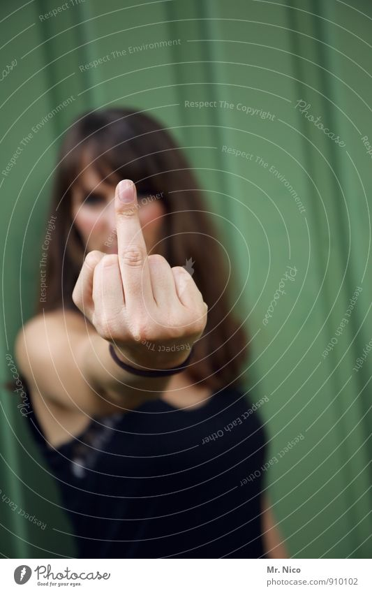 Human being Woman Hand Adults Emotions Feminine Lifestyle Communicate Fingers Cool (slang) Posture Anger Long-haired Aggression Evil Self-confident