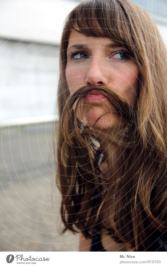 full beard Lifestyle Hair and hairstyles Feminine Young woman Youth (Young adults) Face Lips 1 Human being 18 - 30 years Adults Brunette Long-haired Facial hair