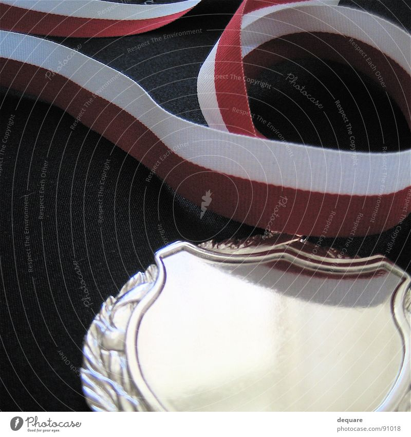 First Medal Success Reflection Reddish white Badge Macro (Extreme close-up) Close-up Leisure and hobbies String Happy reward Silver Award ceremony tribute