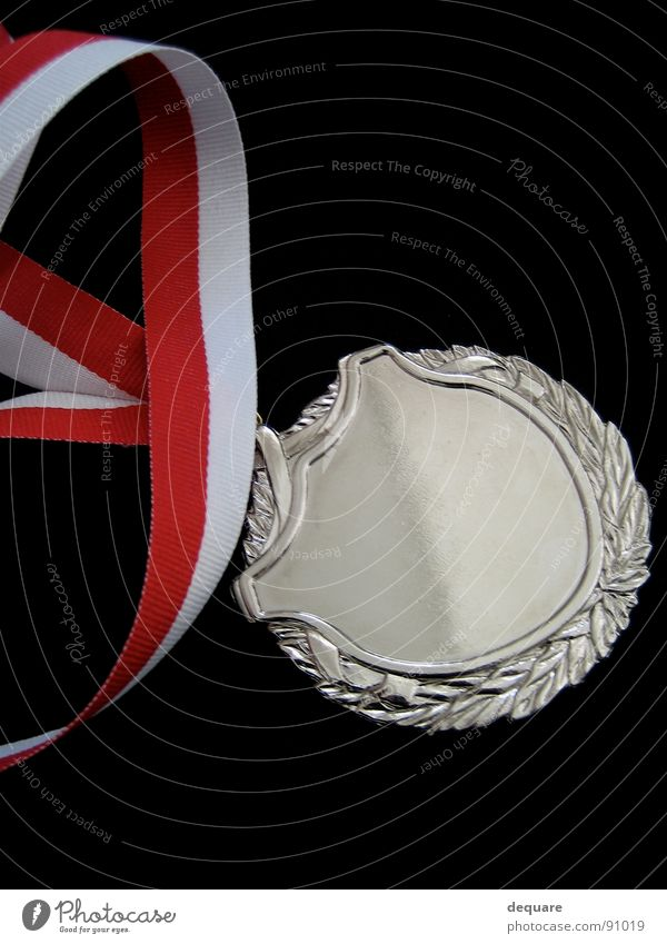 Happy Success String Silver Medal Badge Object photography Award ceremony Reddish white Approved Dark background