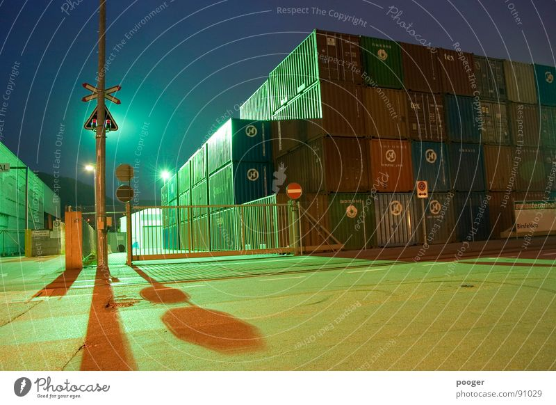 Industry By Night Artificial light Basel Floodlight signalling Container Harbour Birsfelden Architecture
