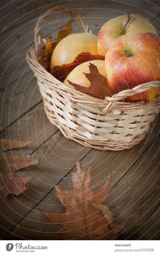 autumn Apple Mature Autumn Autumnal Harvest Holiday season Basket Retro Vintage Wood Oak leaf Wicker basket Brown Dried Shriveled desaturated Wooden floor Fruit