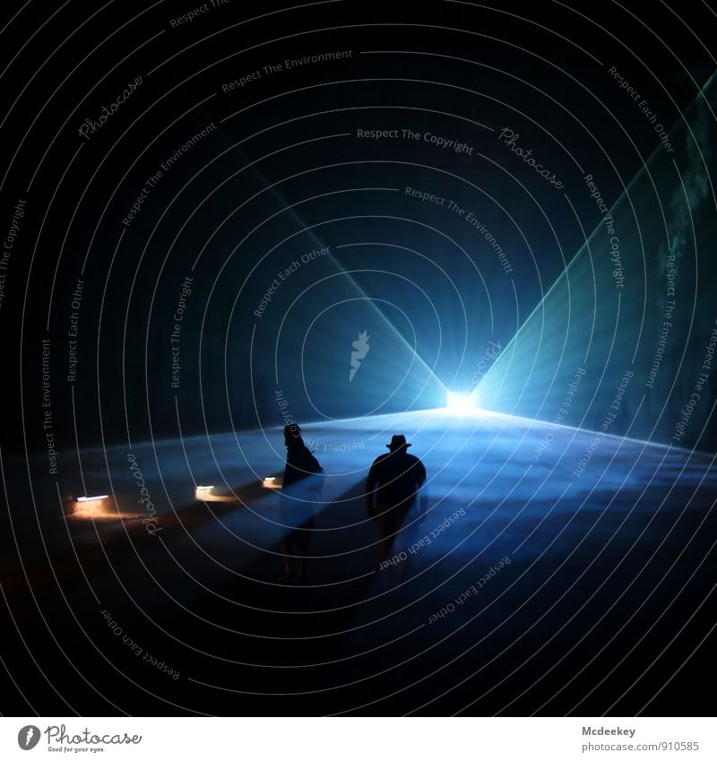 Lightgames IV Mining Human being Masculine Friendship Body 2 18 - 30 years Youth (Young adults) Adults Laser Laser show Illuminate Stand Exceptional Dark