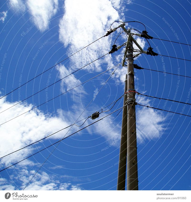 Wireclouds Electricity Light High voltage power line Dangerous Clouds Square Far-off places Society Sky White Gray Black Concrete Column Sharp-edged Right