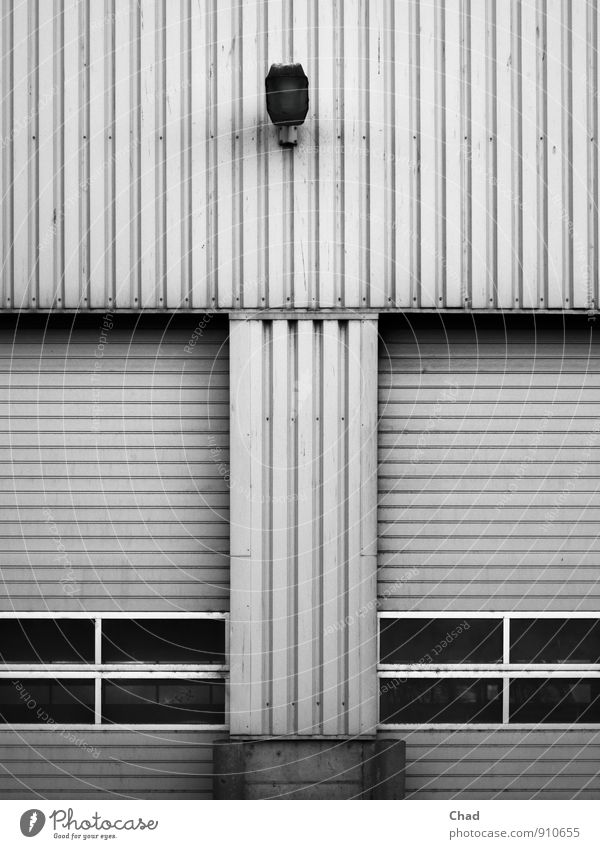 White Black Cold Gray Lamp Metal Work and employment Facade Gloomy Concrete Industry Logistics Factory Gate Warehouse Workplace