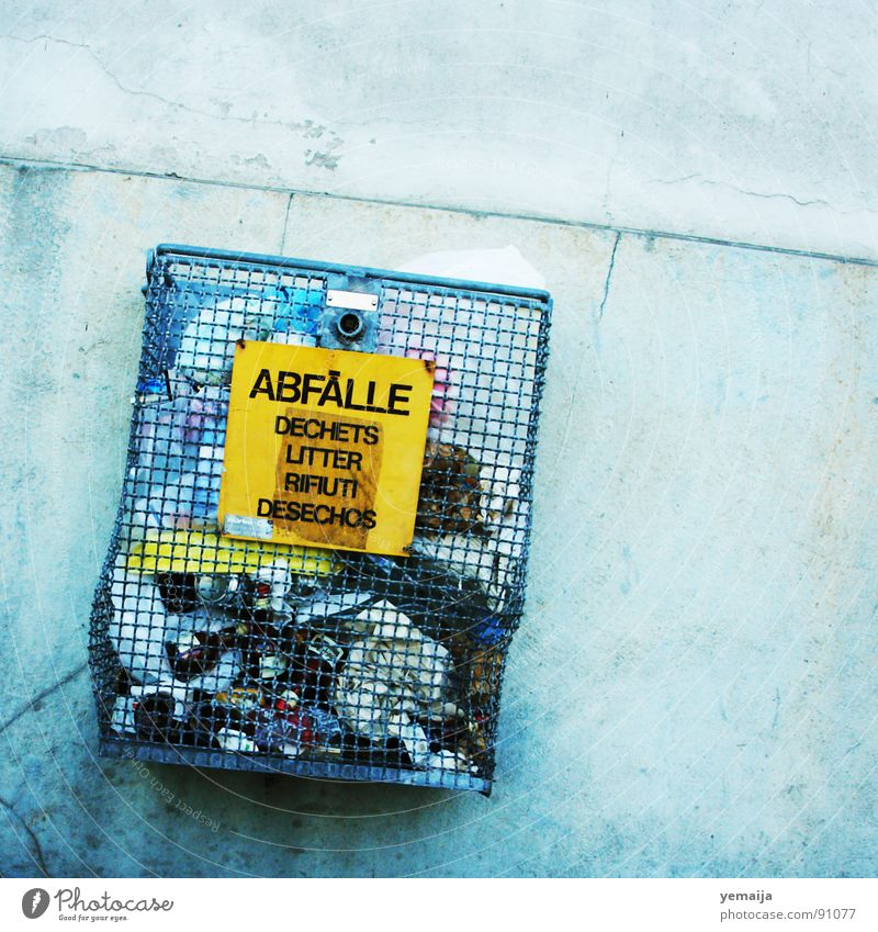 Blue Yellow Wall (building) Wall (barrier) Open Signs and labeling Characters Crazy Concrete Letters (alphabet) Italy Trash France Trashy Grating Remainder