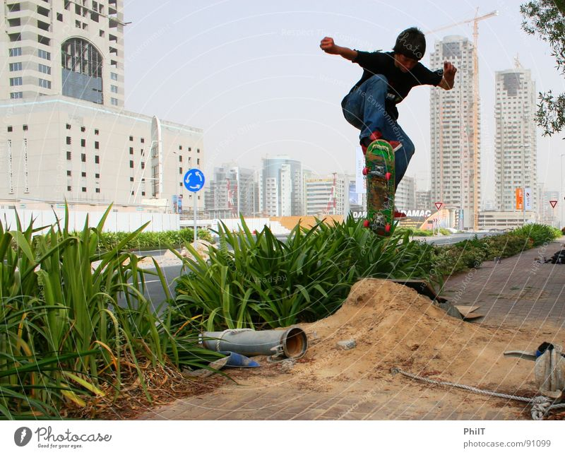 Skate Dubai Skateboarding High-rise Town Jump Funsport Media City Dubai Common Reed Sand Ollie