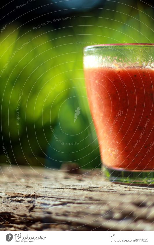 Gazpacho in the garden Nature Green Red Cold Warmth Grass Gray Eating Food Lifestyle Living or residing Glass Fresh Nutrition Simple Sweet