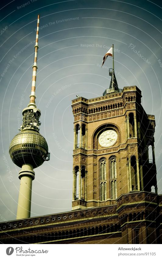 Postcard from Berlin Alexanderplatz City hall Seat of government Mayor Landmark Broacaster Antenna Flag Tower clock Monument Historic Capital city