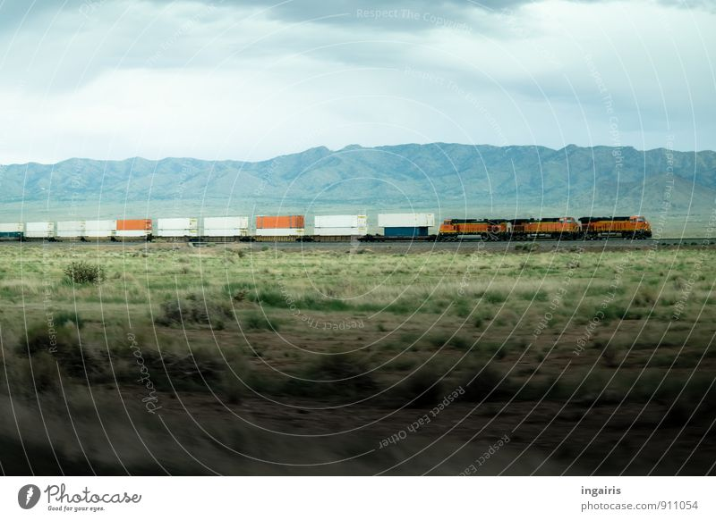 endless Environment Landscape Sky Clouds Grass Mountain Canyon Plain Steppe Means of transport Traffic infrastructure Logistics Rail transport Railroad Engines