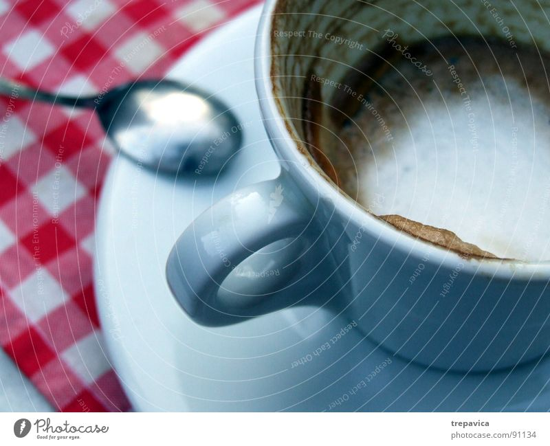 Coffee Espresso To enjoy Break Spoon Cup Red White Café Cappuccino Coffee break Table Drinking Pottery Empty Plate Beverage Nutrition spoonful caffeine grope