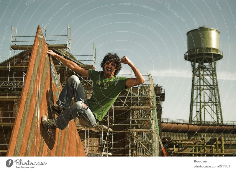 YEAH!!!! Man Wall (building) Water tower Ruin Summer Endurance Jump Vacation & Travel Brave The Ruhr Monkeys Climbing Virgin forest Strong Park Culture Safety