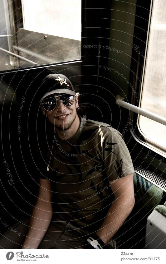 Human being Man Sun Face Vacation & Travel Mountain Head Think Wait Masculine Railroad Trip Sit Driving Stripe Railroad tracks