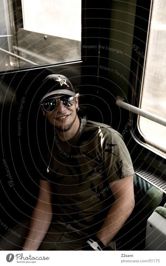 in the train IV Railroad Vacation & Travel In transit Driving Railroad tracks Man Sunglasses Baseball cap Facial hair Masculine Light Sunbeam Stripe Pattern