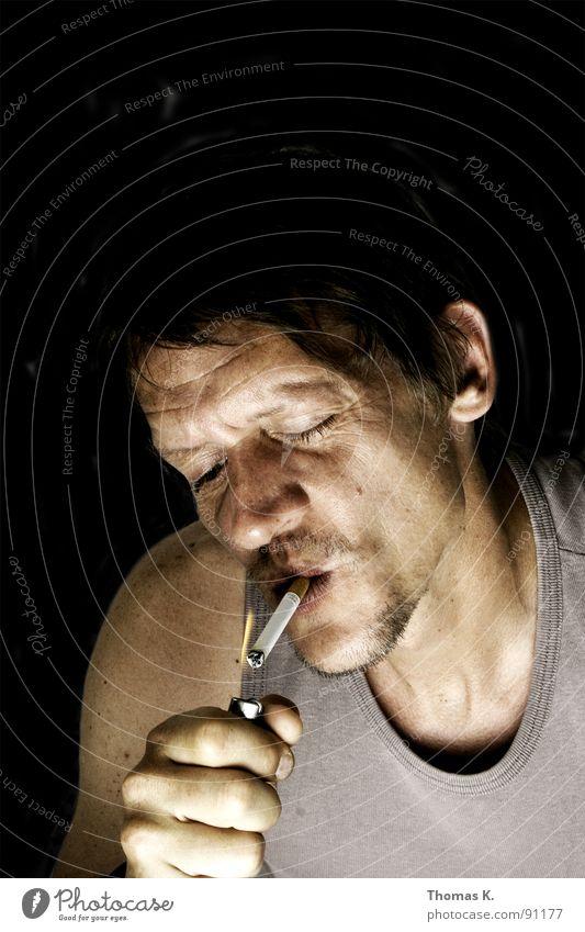 Chicken kills. Portrait photograph Cigarette Lighter Hand Bans Ignite Blaze Head Smoking Smoke come On light my