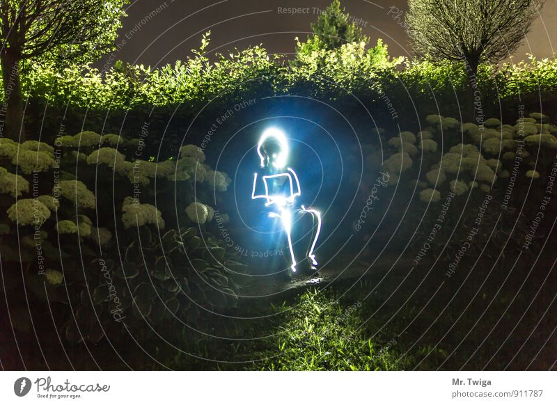 Glowing Man Garden Night life Laboratory Energy industry Science & Research Advancement Future High-tech Solar Power Human being Androgynous 1 Art Painter
