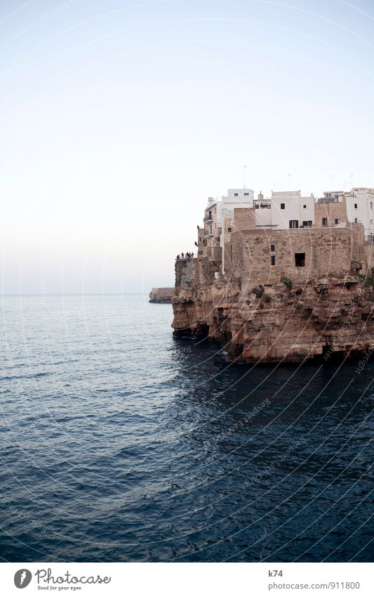 Polignano a mare Sky Cloudless sky Horizon Beautiful weather Coast Ocean Polignano a Mare Italy Europe Village Fishing village Outskirts Old town